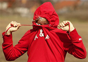 Photo of a teen hiding in their hoodie.