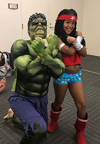 Photo of a girl dressed as Wonder Woman at the SRP Superhero event.