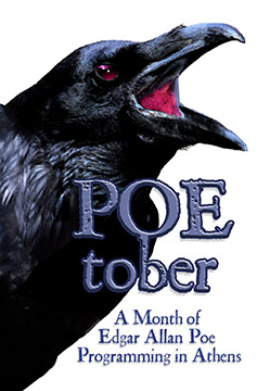 Photo of a raven and the words Poe-tober - a Month of Edgar Allan Poe Programming in Athens