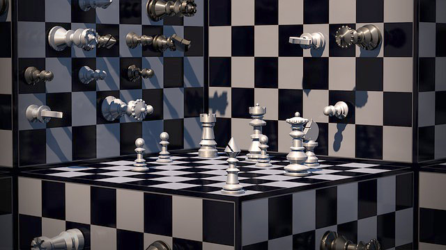 Image of chess in an Escher style environment.