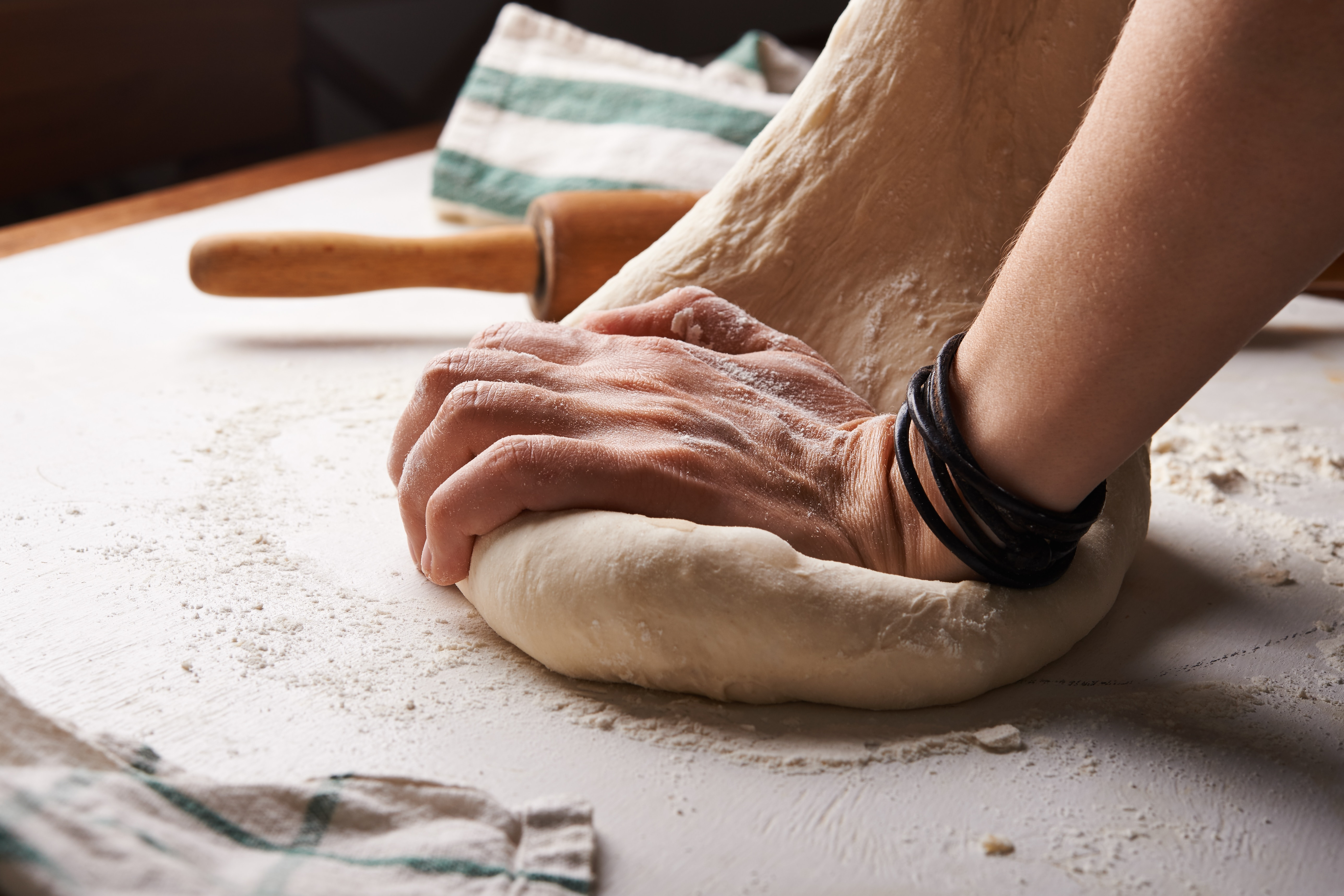 A person baking.