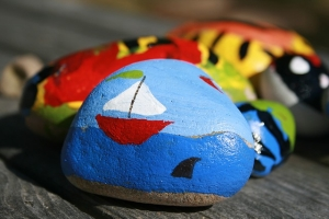Photo of painted rocks.