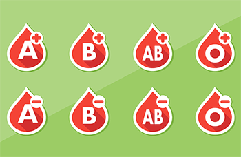 Image depicting the various blood types.