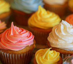 Photo of delicious cupcakes.