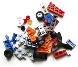 Photo of a variety of Lego bricks.