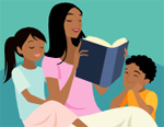 Mom reading to her kids