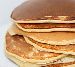Photo of a stack of pancakes.