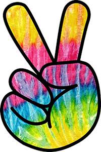 Image of a hand making a peace sign.