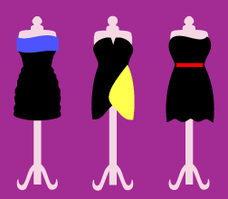 Image of prom dresses on dress forms.