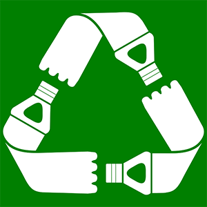 Image of the recycling symbol shaped like plastic bottles.