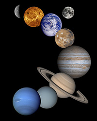Image of the planets of the solar system.