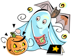 Image of a ghost with a book, a pumpkin, and a bat