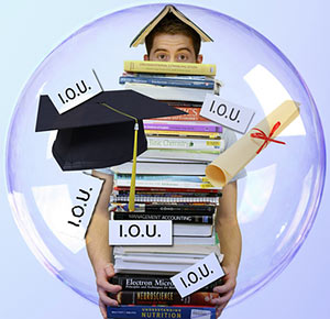 Image of a student with books and a diploma and tons of IOU papers.