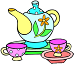 Image of a colorful tea set.