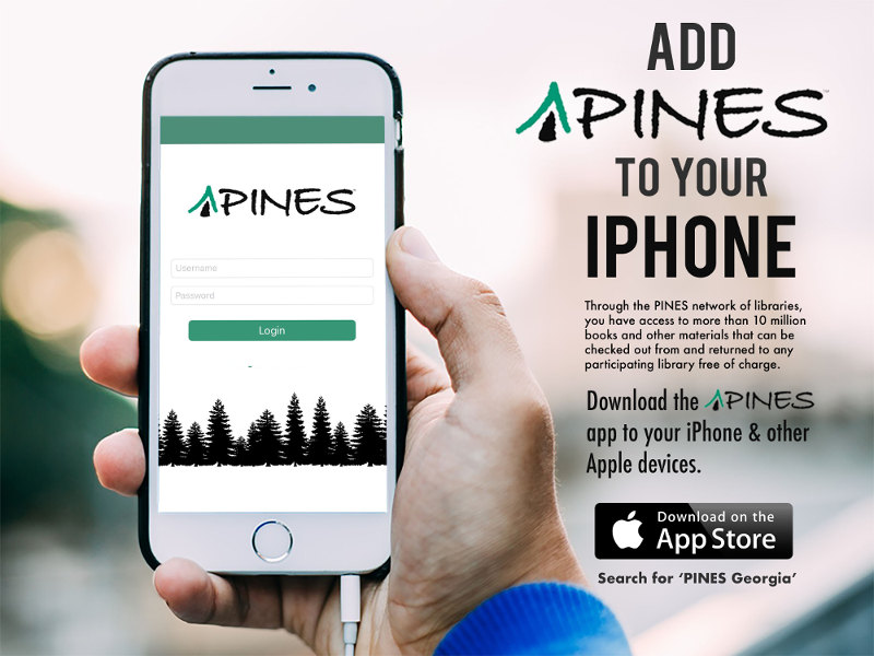 PINES app on an iphone screen
