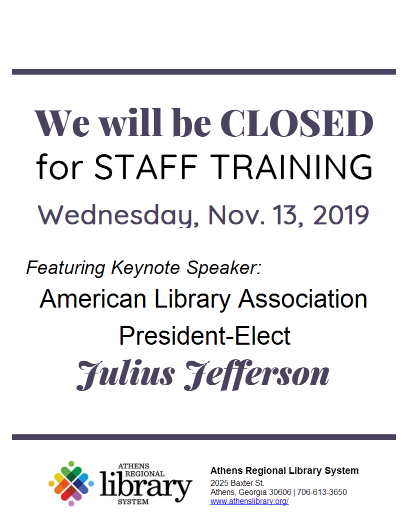 Flyer stating Library Closing on November 13, 2019 for Staff Training