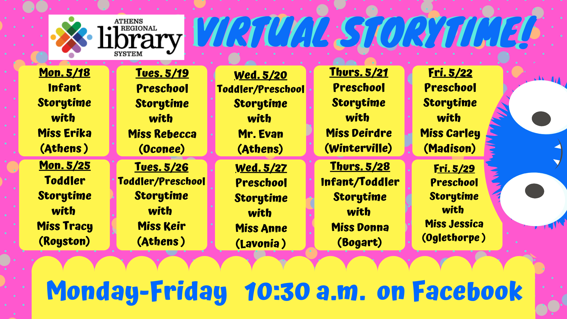 Virtual story time calendar - text is below ; please follow facebook pages for more information