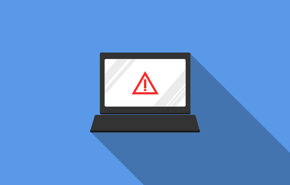 Illustrated laptop with triangular warning sign on screen