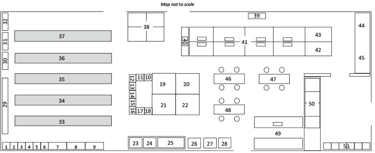 A floor plan of the Heritage Room which numbers the different sections of the area.