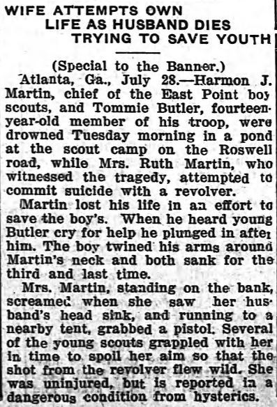 A clipping from the July 29th 1915 edition of the Banner-Herald describing the drowning death of H.J. Martin