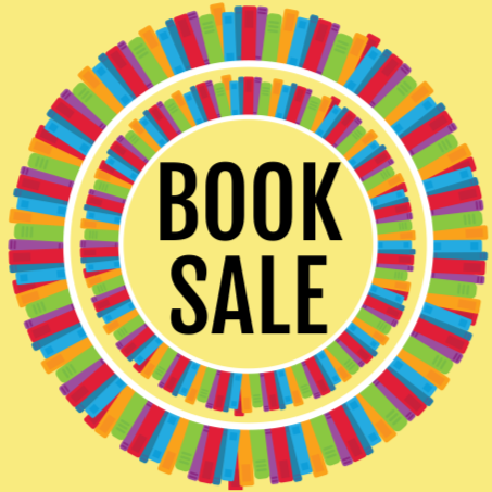 Illustration of books assembled in a ring around the words Book Sale