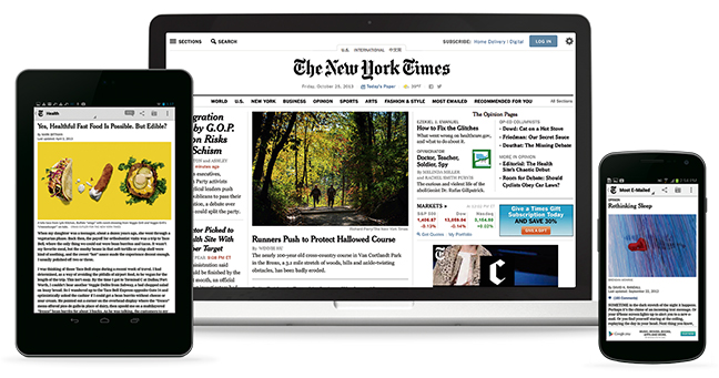 Image of the New York Times accessed on a computer, a tablet, and a phone.