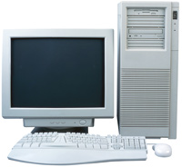 Photograph of a computer with monitor, mouse, and keyboard